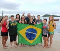 International Service Learning Program NDSU Group Beach Brazil Flag